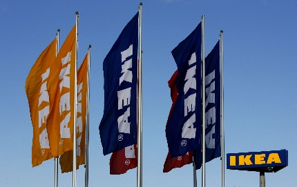 File photo of flags outside IKEA's newest store in Malmo